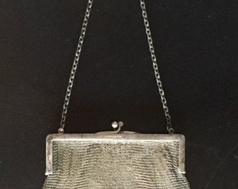 Antique Victorian Sterling Silver Purse, Vintage Silver Chain Link Purse, Old Victorian Purse, Collectible Sterling Silver Victorian Bag