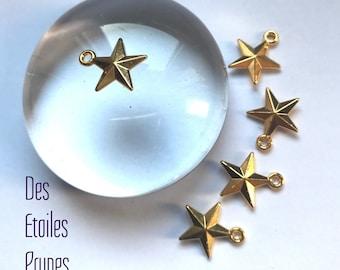 5 star - gold metal - 1.6 cm charms