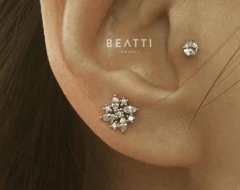 CZ Flower Cartilage Earrings/ Conch earrings/Helix/Piercing Jewelry/Tragus earrings/Tragus stud/Flower Piercings