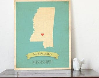 Mississippi Roots Map 11x14 Customized Print, Missisippi State Map,
