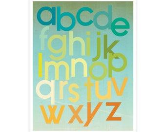 Citrus Berry Alphabet Poster, Gender Neutral, ABC Vintage Wall Art, Nursery, Room Decor, Alphabet for Kids, Wall Decor, Educational Print
