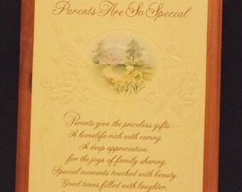 """VINTAGE Hallmark Card Plaque. """"Parents Are So Special"""". 1983 Hallmark."""