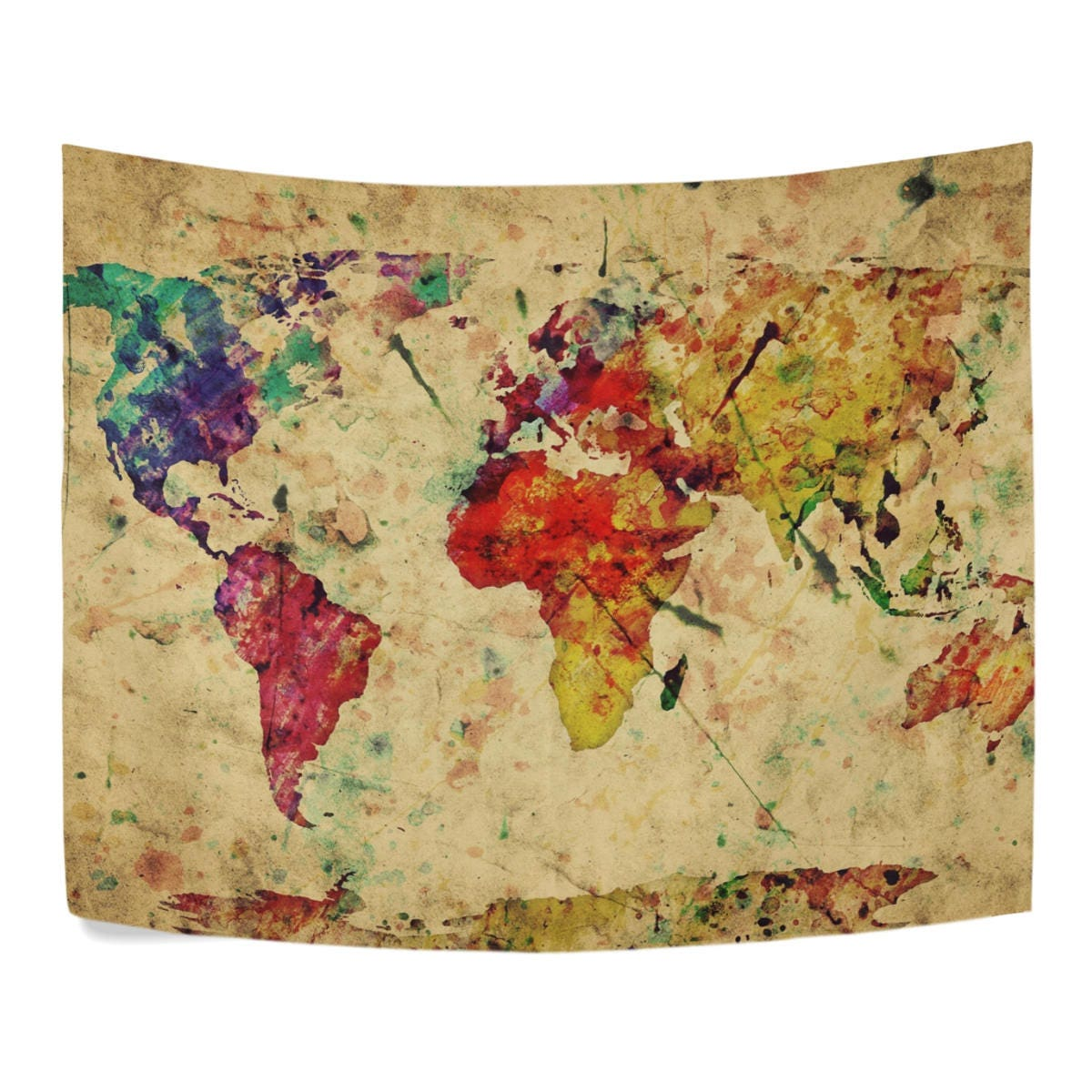 Vintage Retro World Map Tapestry Wall Hanging Earth Map Wall Art ...