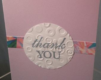 Thank You Embossed Circle Card Purple or Orange