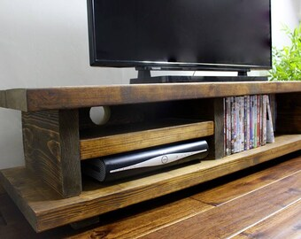 Chunky Rustic TV/Audio Unit Media Cabinet ~ solid wood ~ Medium/Dark Oak Finish ~ Handmade in the U.K ~