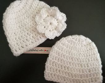 Newborn Hand Crocheted Hats. Set of 2.