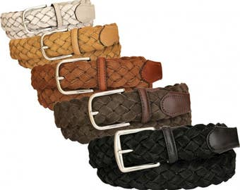 Braided belt 35 mm height suede cotton lined