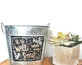 Galvanized Metal and Chalkboard Pail