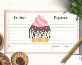 Dessert Recipe Card Template | recipe cards, blank recipe card, recipe card printable, recipe card 6 x 3.5, printable recipe