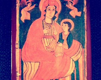 "Ethiopian icon of the Mother of God (""Who points to the Way""), part of a portable diptych. Available as a diptych, with the Passion, listed."