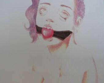 Fetish Girl print from original drawing Crayons Female Art Black Red Purple