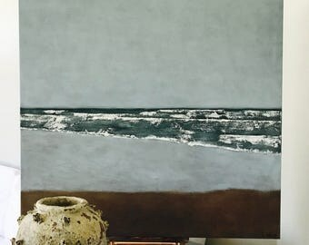 "Large Beach painting Ocean Painting Seascape Art Acrylic Original // ""Serene Waves"" 36 x 36"" on Canvas"
