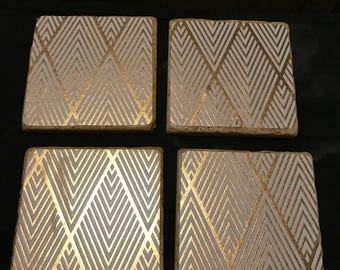 Gold Travertine Stone Tile Coasters