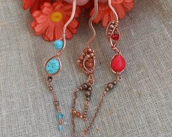Hairpin Copper Hairpin Hairpin copper Hairpin with stone Hairpin handmade Jewelry hair Jewelry handmade Сopper Jewelry Jewelry Сopper