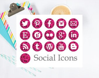 Instant Download - Pink Rose Social Media Icons