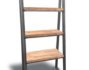 Solid Oak Handmade Trapeze Shelving Unit/Bookcase Chic Industrial Oak Office Home