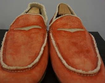Donald J. Pliner Mens 14M Vian Color Tomato Red Suede Loafers Frayed Edges Vintage Look
