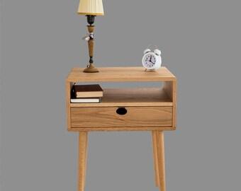 Bedside table Walnut / oak solid 1H1C Mind Century