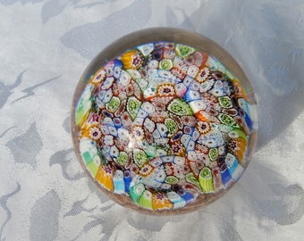 Millefiori globe glass paperweight – unmarked, but obviously of art house quality construction.