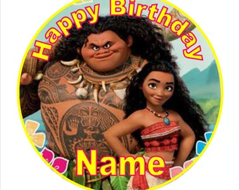 SPECIAL!! Moana Edible Round Wafer Cake Topper + 30 Mini Cupcake toppers