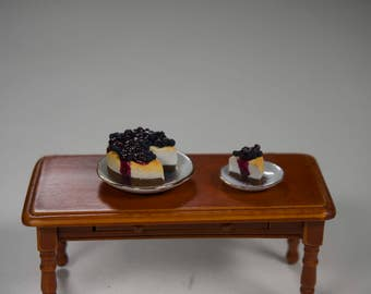 Miniature blueberry cheesecake, dollhouse food, 1:12 scale