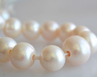 Half Strand 12-14 mm White Graduated Large Hole Freshwater Pearl Beads 2.2mm Hole Large Hole Natural White Pearls (161-LHPW1214)