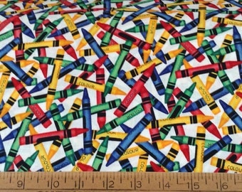 Colorful Crayons cotton fabric by the yard