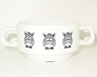 Soup Bowl 5, 1 pcs, zebra soup bowl small baby child kids , Bottom, hidden message, secret message, Soup Bowl, porcelain