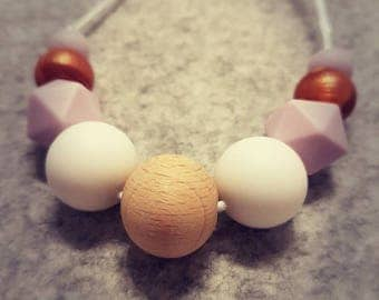 Silicone Necklace: Lilac & Copper