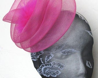hot pink feather fascinator millinery burlesque headband wedding hat hair piece