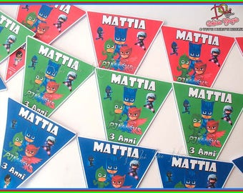"Birthday Party Sets Party Flags ""PYJAMAS PJ MASKS"" Party Custom Party"