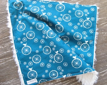 Baby Blanket - Lovey - Cuddle - Birds on Spokes - Wheels - Baby Shower Gift - Gender Neutral - Baby Boy - Baby Girl - Teal - Bird - Nature