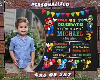 Super Mario Invitation,Super Mario Birthday Invitation,Super Mario Party,Super Mario Birthday,Super Mario Invite,Super Mario Card