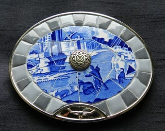Authentic - R.M. Williams - HUGE - Tile Mosaic Belt Buckle - As New - Never Worn