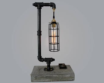 City Street - Cement lamp with edison bulb and toggle switch