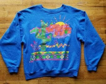 Vintage Sweatshirt with desert / Santa Fe design - size XL #017