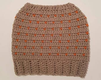 Ladies Bun Hat Grey & Orange
