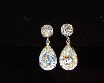 earrings rhinestone dangle screw back silver tone
