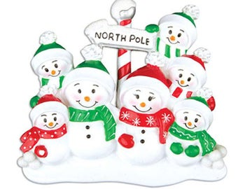 Snowman Family of 7 Unique Personalized Christmas Ornament + FREE SHIPPING!