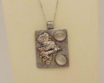Sterling Silver Pendant with moonstones