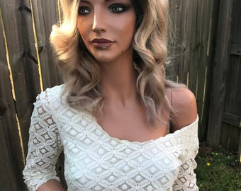 Natural Blonde Ombre' Full Lace Front Wig Human Hair Multi Parting -Bella