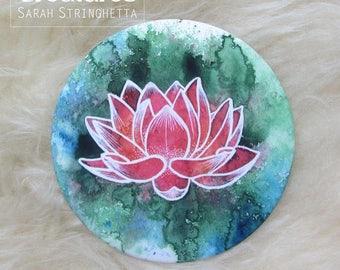 Pocket mirror with Red satin - Lotus