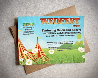 Wedding invitation Festival and marriage evening reception wedfest card ready to print