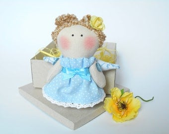 Tilda angel Stuffed soft doll Mini doll in the box Textile angel Linen toy Tilda dolls Angel decorations Rag angel Gift for daughter