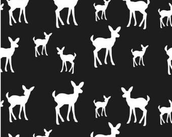 Baby deer fabric - black
