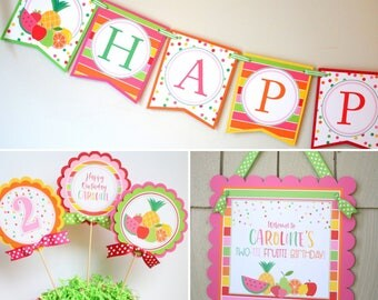Tutti Fruitti Party Birthday Decoration - Two-ti Fruity Second Birthday - 3 Piece Party Package - Banner, Centerpiece, Sign