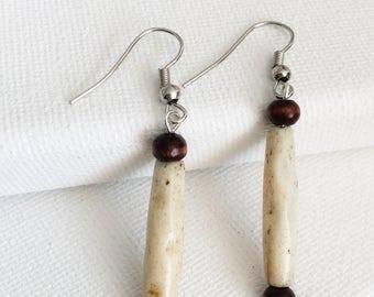 Bone bead and wood earrings