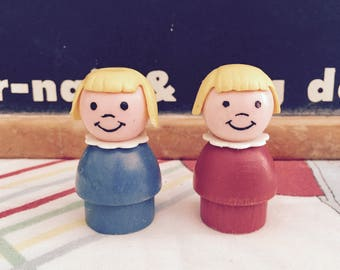 RARE Vintage 1970s Fisher Price Little People Wood Base Little Girl