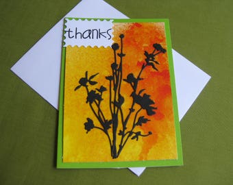 Handmade thank you Card Wildflowers - Thanks
