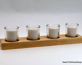Wood Candle Holder - Wood and Glass Candleholder